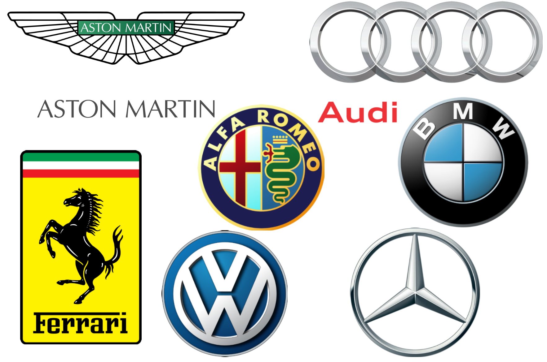 European Car Brands on sports car badges