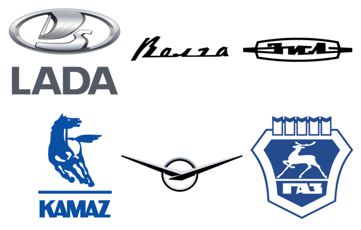 Russian car brands logotypes