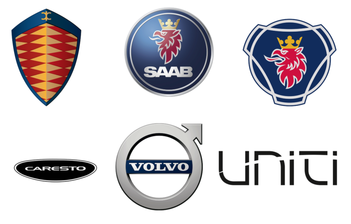 Swedish car brands logotypes