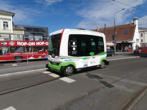 A driverless buss in Tallinn, Estonia